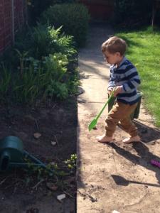 barefoot digging